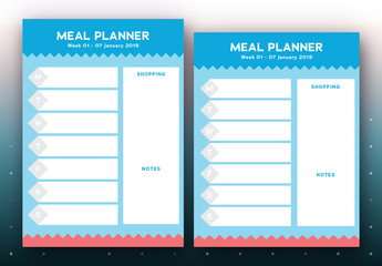 Weekly Meal Planner with Blue and Red Geometirc Elements