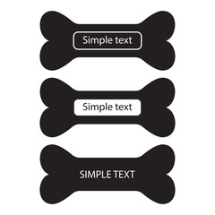 Bone icon. Set of black silhouette with place for your text, template signboard. Vector illustration