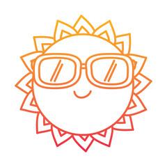 cartoon sun wearing sunglasses summer character vector illustration degraded line color design