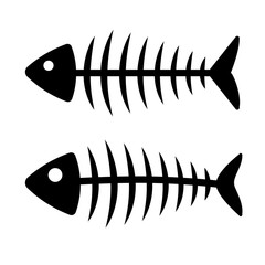 Fish bone icon. Set of black silhouette. Vector illustration