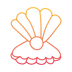 open seashell with pearl marine life vector illustration degraded line color design