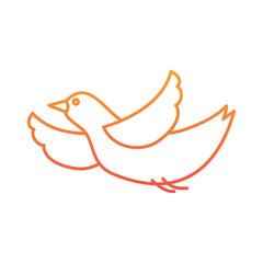 cute bird cartoon flying waving vector illustration degraded line color design