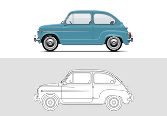 Vector illustration of Fiat 500 1957 - 1975. Old timer, classic car.