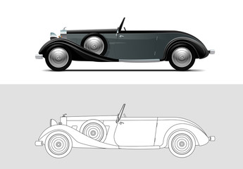 Vector illustration of 1936 Duesenberg, Old timer, classic car.