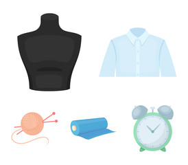 A man's shirt, a mannequin, a roll of fabric, a ball of threads and knitting needles.Atelier set collection icons in cartoon style vector symbol stock illustration web.