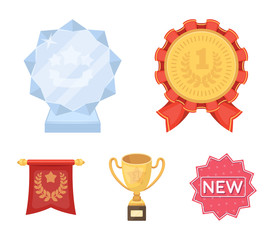 An Olympic medal for the first place, a crystal ball, a gold cup on a stand, a red pendant.Awards and trophies set collection icons in cartoon style vector symbol stock illustration web.