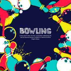 Vector bowling frame background. Abstract watercolor illustration. Bowling ball, pins and sketched letters on colorful splash background. Design elements for banner, poster or flyer.