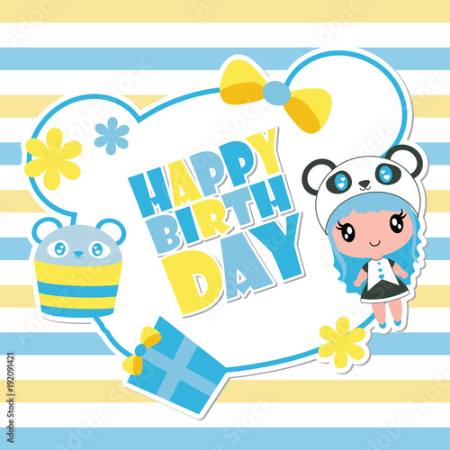 Cute Panda Girl On Blue Frame Vector Cartoon Illustration For Happy