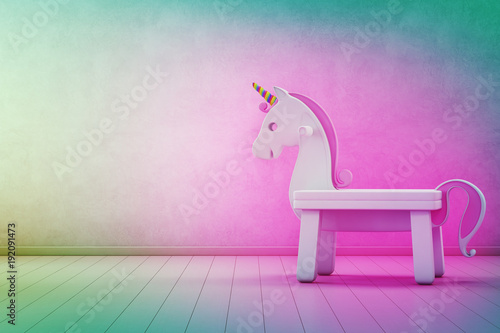 White Toy Unicorn On Wooden Floor Of Kids Room With Empty Rainbow Concrete Wall Background In