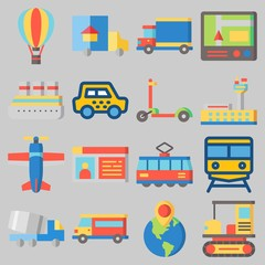 Icon set about Transportation with keywords van, taxi, airport, hot air balloon, driving license and scooter