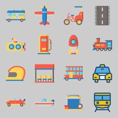Icons set about Transportation. with boat, train and locomotive
