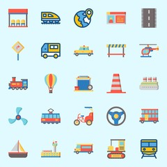 Icons set about Transportation with location, propeller, double decker, taxi, tram and hot air balloon