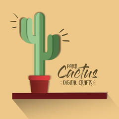 paper cactus digital craft vector illustration design