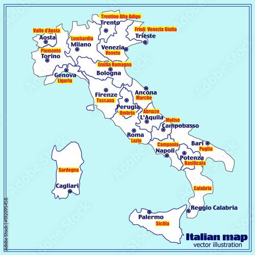 Italy map with Italian regions. Vector.\