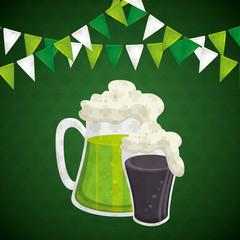 saint patrick day beer vector illustration design