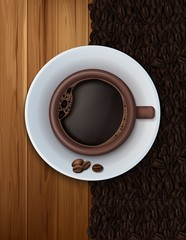 Coffee cup with wood texture and coffee beans background