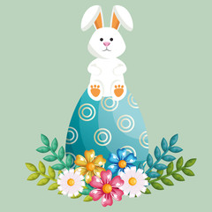 rabbit with eggs painted easter celebration vector illustration design