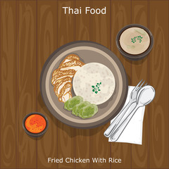 thai food Fried Chicken With Rice