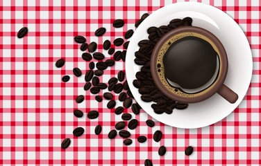 Cup of coffee with coffee beans on a tablecloth background