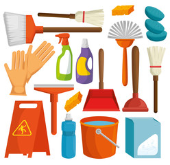 colorful set of cleaning supplies vector illustration graphic design