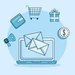 email marketing and promotion computer with email notification vector illustration graphic design