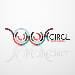 Abstract swirl lines symbol, circle logo icon