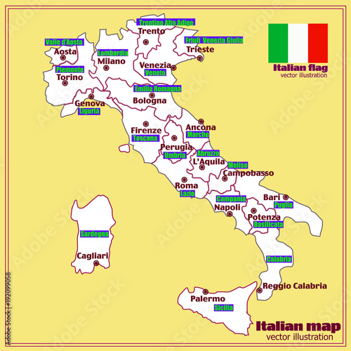 Italy Map With Italian Regions Vector Stock Image And Royalty - Italian map