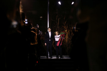 Designer Carolina Herrera receives applause with Wes Gordon, the newly named creative director of her label, after presenting her Fall/Winter Women's 2018 collection during New York Fashion Week