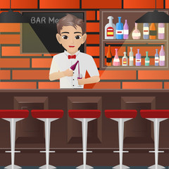 Male Bartender Pouring a Glass of Wine