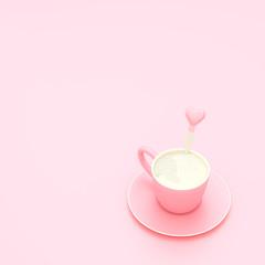 Milk pink cup on pink pastel background Minimal concept
