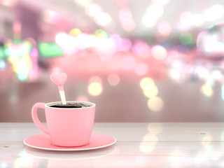 Coffee pink cup love concept