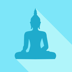 Silhouette of sitting Buddha with sjhadow on blue background