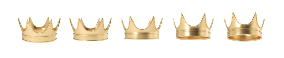 3d rendering of set of golden royal crown isolated on a white background.