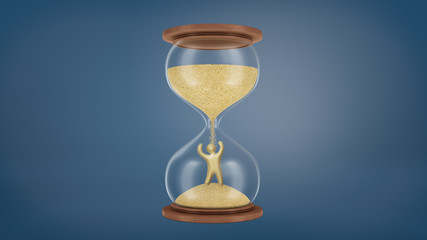 3d rendering of a large retro hourglass with a wooden base and golden sand falling on a gold victorious human figure.
