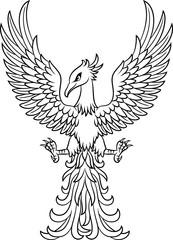 Phoenix bird tattoo isolated on white background