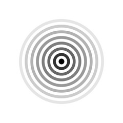 Black target or pain location symbol isolated on white. Vector black rings with different opacity, one click to recolor.