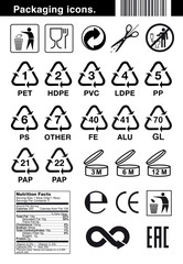 Set of icons for packaging. Vector elements. Ready for use in your design. EPS10