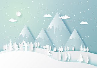 Wall Murals Light blue Snow and winter season abstract background with forest nature landscape for merry Christmas and happy new year paper art style.Vector illustration.