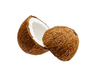 Cracked Coconut Exotic Fruit Isolated on White