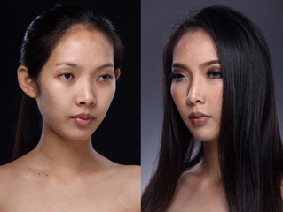 Asian Woman before after make up hair style. no retouch, fresh face