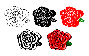 Collection of roses. Silhouette of black, color and shadow style. Vector illustration isolated on white background. Happy Valentine's day.