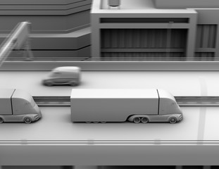 Clay model rendering of self-driving electric semi truck driving on highway. 3D rendering image.