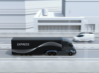 Side view of black self-driving electric semi truck and minivan on highway. 3D rendering image.