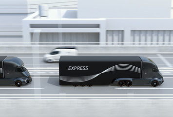 Side view of a fleet of black self-driving electric semi trucks driving on highway. 3D rendering image.