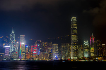 HONG KONG - NOVEMBER 15, 2016: Hong Kong skyline of Hong Kong Island with city lights viewed from Tsim Tsa Tsui waterfront across Victoria Harbor.