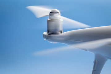blurred rotating drone propellers