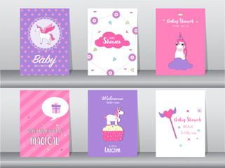 Lamas personalizadas infantiles con tu foto Set of baby shower invitation cards,birthday cards,poster,template,greeting,cards,cute,fantasy,unicorn,animal,Vector illustrations
