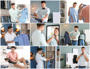 Set with young man and different clothes in wardrobe room