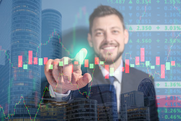 Stock exchange broker pushing button on virtual screen against color background