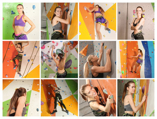 Collage with people in climbing gym